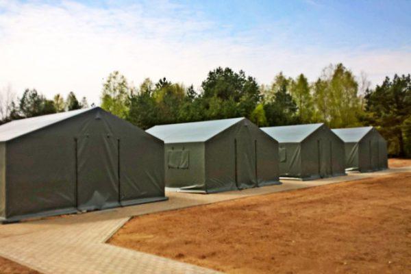 Namioty wojskowe zielone w formie hali Białystok