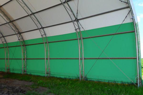 Zielone obicie hali namiotowej Białystok