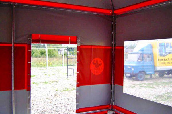 Wnętrze stoiska wystawienniczego hali namiotowej Białystok